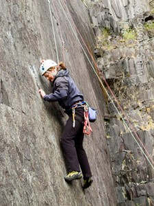 Climbing in the slate quarries, at Llanberis