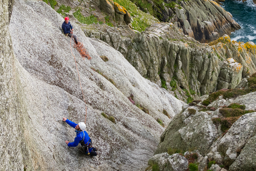 Climbers on The Devil's Slide, Lundy