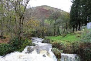 Unusually fast flowing water. It rately rains in this part of Wales..Solihull MC members enjoying the view