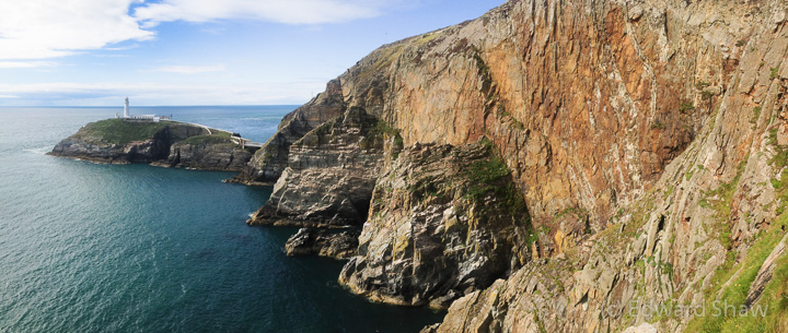 South Stack Lighthouse on Gogarth - seen from the top of the climbing action.