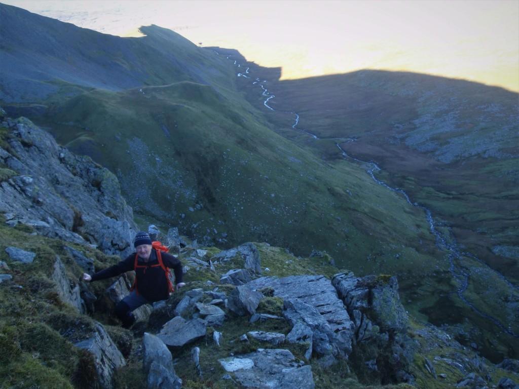 B Looking back down Cwm Llafar.