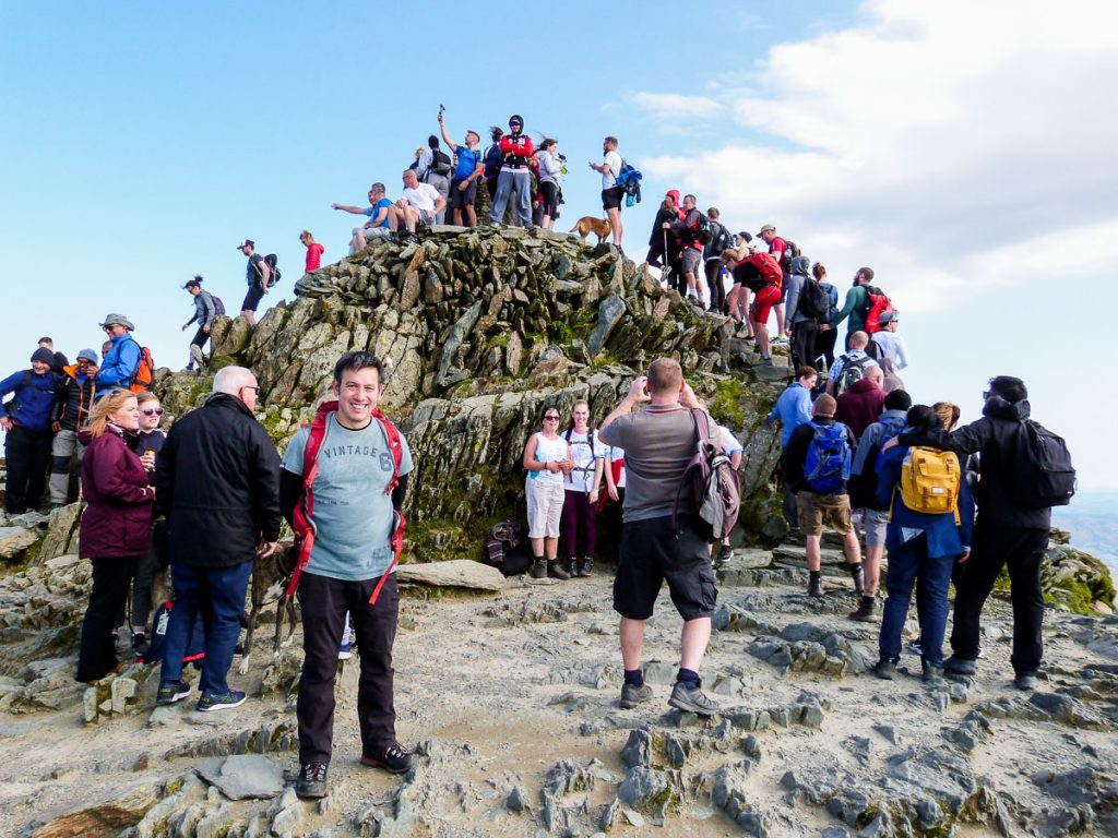 Solihull Mountaineering Club busy Snowdon Summit